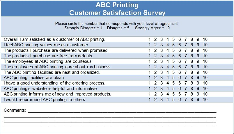 Customer Satisfaction Questionnaire Template — The Thriving Small